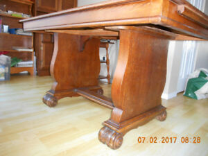 Solid wood Dining table with 4 chairs circa 1930s