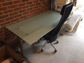 Frosted glass office desk and adjustable chair