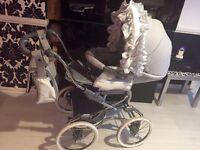 Bebecar silver shimmer stylo Romany pram pushchair