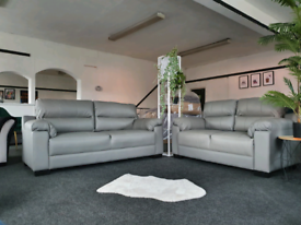 NEW Saskia REAL LEATHER Grey 3 + 2 Seater Sofa Suite DELIVERY AVAILABL