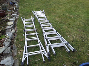 2 folding aluminum ladders