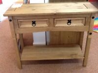 Waxed pine hall console table brand new