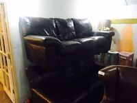 2 full brown leather 3 seater sofas