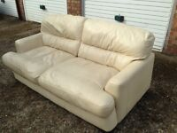 """Cream leather SOFA BED two seater sofa """"Free delivery"""""""