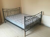 Black Metal Double Bed with Mattress