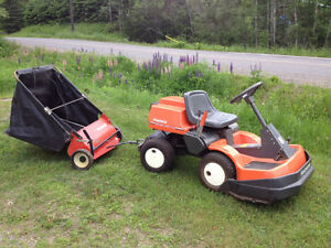 Husquarna riding lawnmower+leaf /cutting collecter