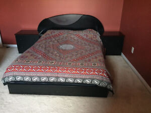 Black Modern Double Bed Set w/ 2 night tables. Mint condition!