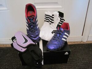 Adidas cleats (size 3.5), shin pads, socks -Excellent condition!