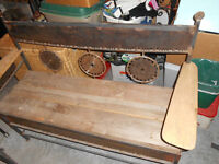 Iron Swede saw and saw blade garden, patio bench