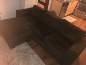 L shaped Brown sofa, Price Negotiable