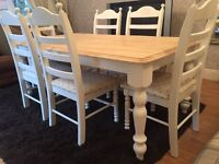 Lovely 6ft Shabby Chic Chunky Farmhouse Oak Table And 6 Lovely Chairs