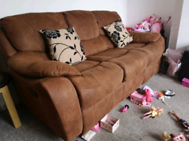 Free Suede recliner sofas 3 seater