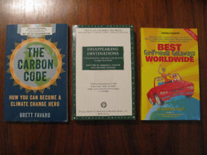 3 Books: Disappearing Destinations; Carbon Code; GFs TravelGuide