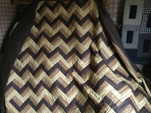 Hand Made Queen Size Rail Fence Quilt