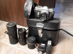 Mamiya/ Sekor 35 mm camera with flashes and lenses