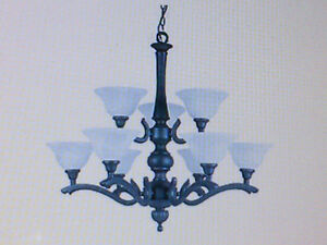 Substantial 9-Light, 2-Tiered Chandelier – SPOTLESS!!
