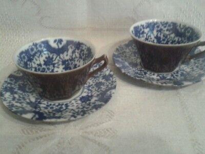 2 alt-niederländische Kaffeegedecke BATAVIA WARE außen braun innen weiss blau