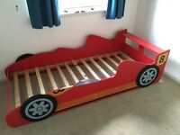 Racing Car Kids Bed and Mattress - Very Good Condition RRP £250