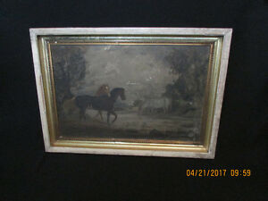 Antique Naive Painting of Group of Horses