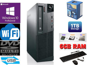 Lenovo Intel i3-4160 Dual Core 6Gb RAM 1TB Win 10 DEsktop PC WiF