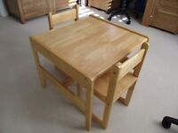 Child's solid wood table & 2 matching chairs in very good condition