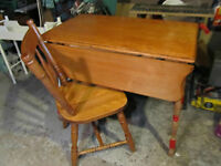 Vintage Drop Leaf Kitchen Table with One Chair