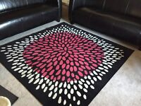 IKEA modern black, white and pink area rug