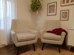 2 Mid-Century Modern Style Chairs in Pale Blue