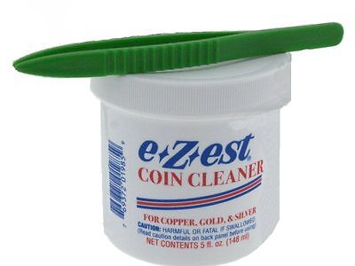 "5oz e-Zest Coin Cleaner for Gold, Silver and Copper with 5"" Plastic Tweezers"