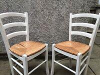 Pair of white farmhouse chairs