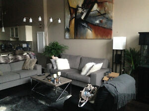 The brick Grey fabric loveseat and couch Cambridge Kitchener Area image 1