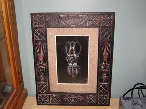 GLASS FRAMED - ABORIGINAL - TRIBAL MASK - ART - SHADOW BOX