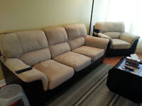 Sofa Set 3+1 - Beige Suede /w Brown Faux Leather - Pick up Ottaw