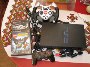 Sony PS2 System with Games, Controller, & Racing Wheel