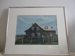 toiles(2) acrylique avec cadre argent et vitre