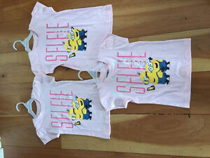 New! Girls pink minion tshirt size 4.5 or 6