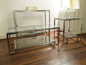 Glass coffee, side and console table set