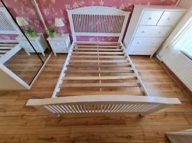 White wood double bed frame £85