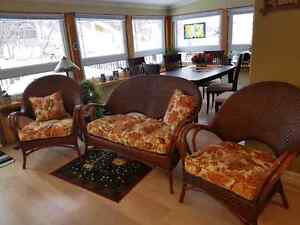 Wicker chairs and love seat