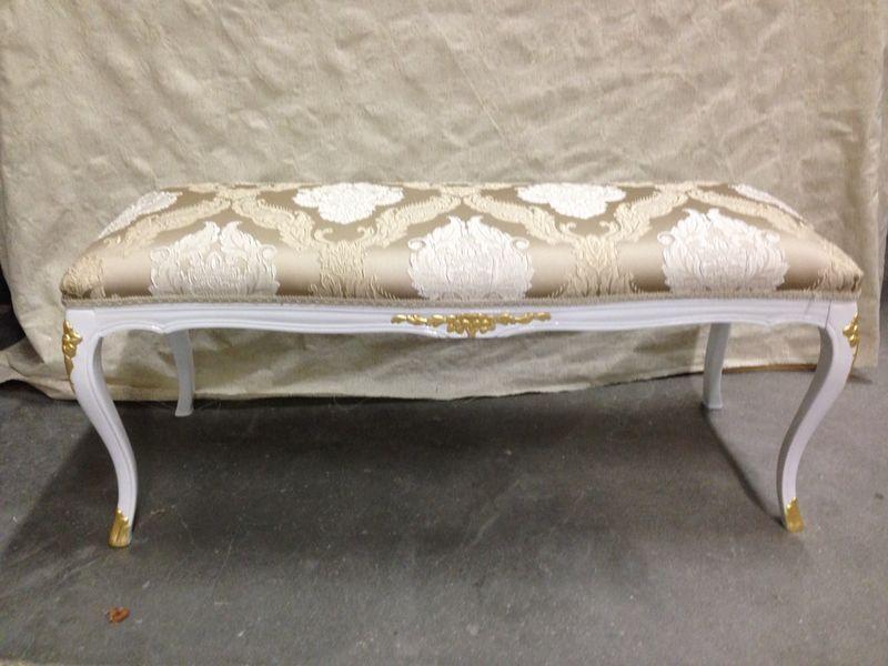 Dormouse laccata bianca e foglia oro sgabello divano camera da letto