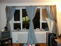 Thermal blackout curtains with sheer overlay