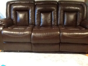 SOFA SET, 3PIECE RECLINING BONDED LEATHER,EXCELLENT CONDITION