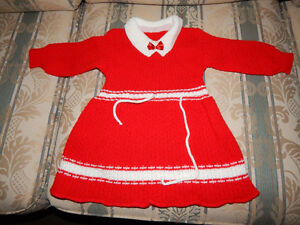 12-18-24 months of girls Red handmade knitted dress new .