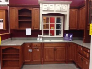 KITCHEN CABINETS, HARDWARE, CORIAN COUNTERTOP, DOUBLE SINK
