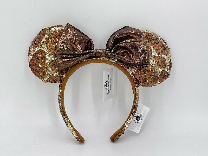 Headband Ears Cutie Gift Leopard Print 2021 Disney Parks Brown Gold Sequin