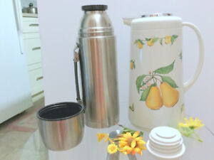 Two Thermoses Bottle + Coffee/Tea Maker 20oz (1.2L) Stainless St