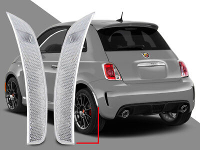 (Euro Clear REAR Bumper Side Marker Reflector Lights Pair For 2011-2017 Fiat 500)
