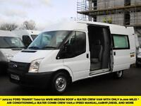 2013 FORD TRANSIT 300/125 MWB MEDIUM ROOF 6 SEATER CREW VAN WITH ONLY 51.000 MIL