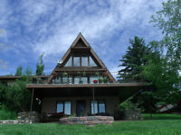 90 ft Lakefront Property: Pasqua Lake A-Frame Walk Out