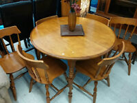 Solid Wood Dining Set with 6 Chairs and 2 Leafs